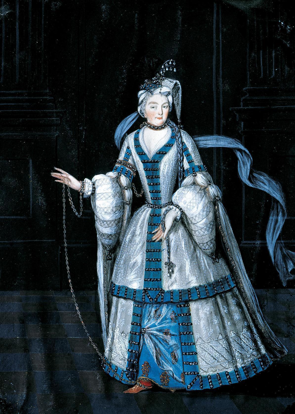 Sibylla Augusta kostümiert als Sklavin, Gemälde in Schloss Favorite; Foto: Staatliche Schlösser und Gärten Baden-Württemberg, Steffen Hauswirth