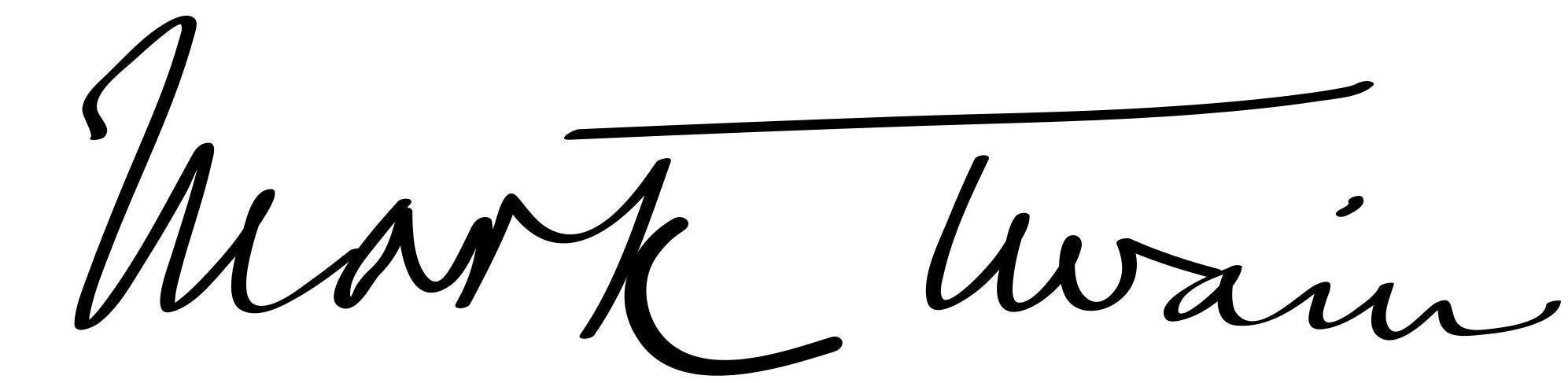 Die Unterschrift von Mark Twain; Foto: Wikipedia, gemeinfrei